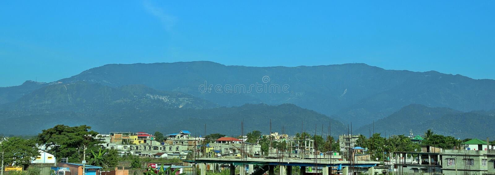 Beautiful view of the mountains and its foothills. A landscape shot in blue royalty free stock image