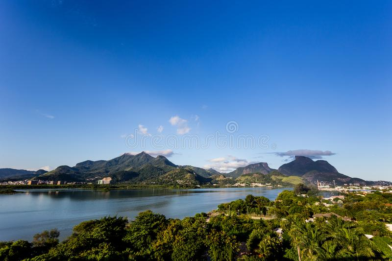 Beautiful view of mountains near lake in Rio de Janeiro, Brazil royalty free stock photography