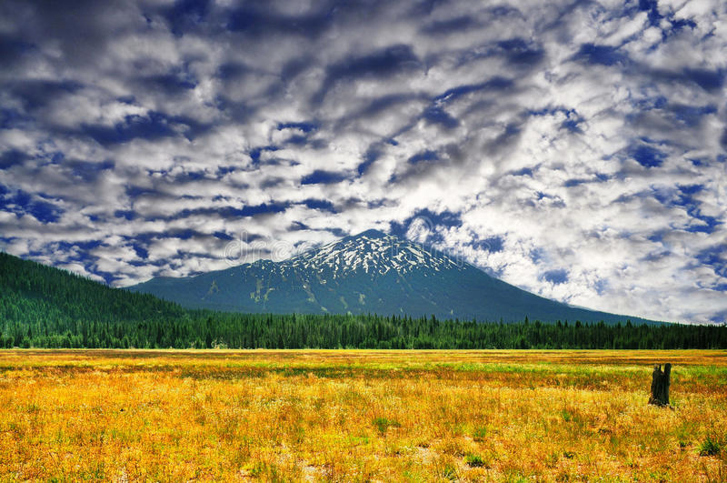 Beautiful view of Mt Bachelor stock images
