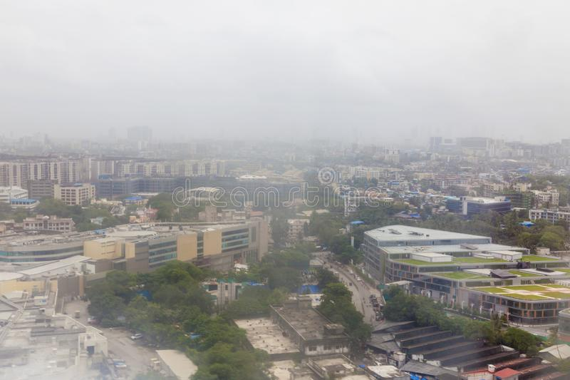 Beautiful view of the Mumbai Bombay city and cloudy weather from airplane window. Beautiful view of the Mumbai Bombay city and cloudy weather from airplane royalty free stock photography