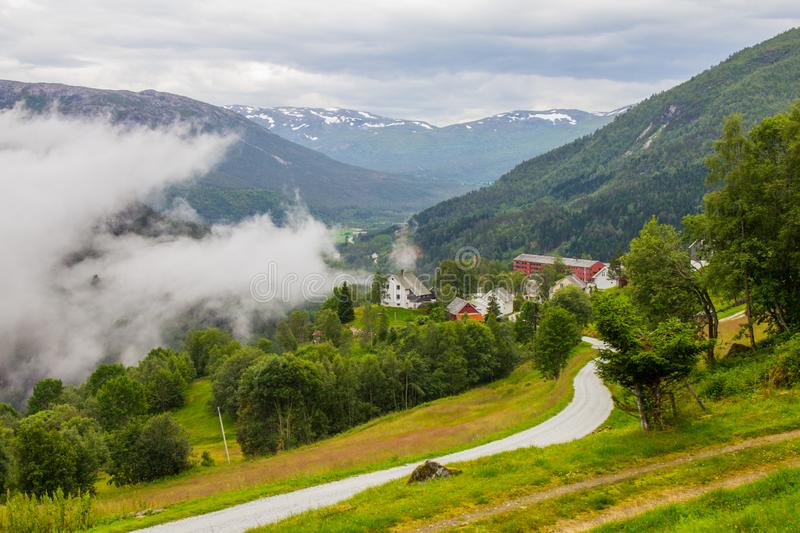 The beautiful view on Naeroydalen valley and peaks on Stalheim, Voss, Norway. The beautiful view on Naeroydalen valley and peaks on Stalheim, Voss in Hordaland royalty free stock image