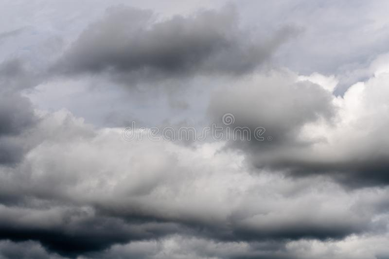 Beautiful view of natural meteorology background - stunning cloud scape, dramatic clouds floating across sky stock image