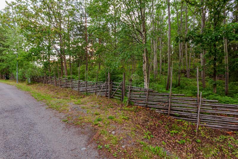 Beautiful view of a nature landscape. Wooden fence along a gravel road on green forest background. Sweden. Europe. stock photos