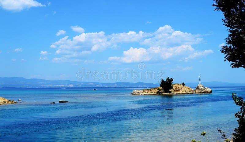 View of Nea Potidea in Kassandra, Chalkidiki peninsula, Greece. Beautiful view of Nea Potidea in Kassandra, Chalkidiki peninsula, Greece stock image