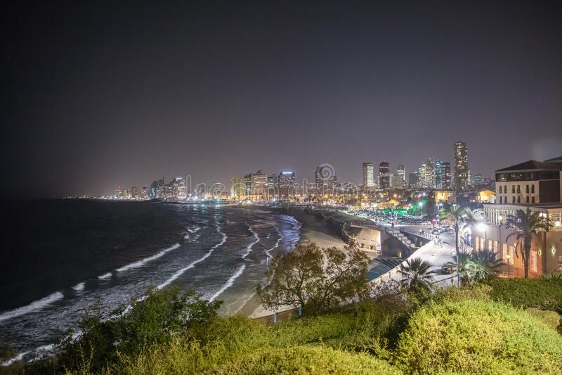Beautiful view of the night Tel Aviv stock images