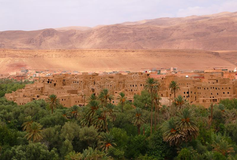 Oasis town of Tinghir in Morocco royalty free stock image