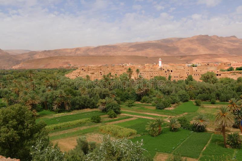 Oasis town of Tinghir in Morocco stock photos