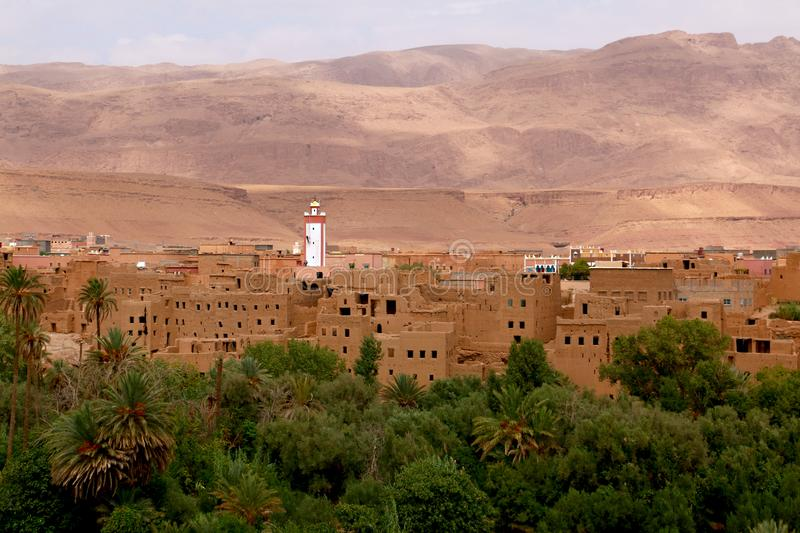 Oasis town of Tinghir in Morocco stock photography