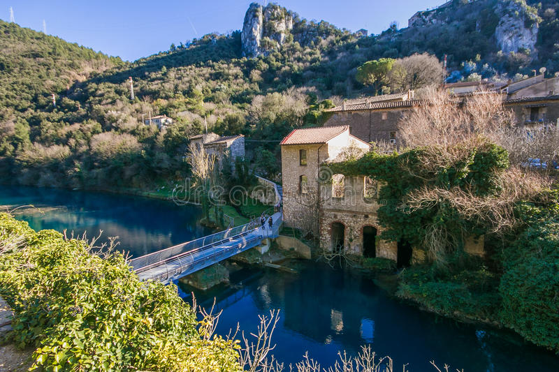 Beautiful view od Stifone village on blue river. Umbria stock photos