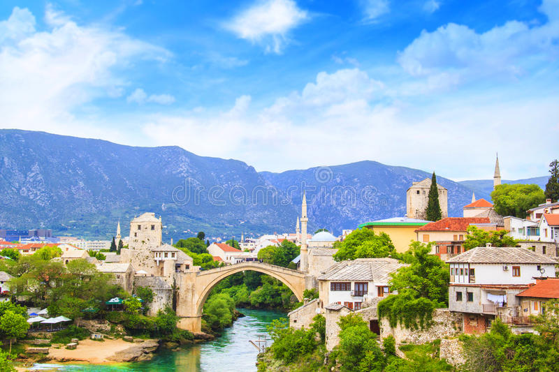 Beautiful view Old bridge in Mostar on the Neretva river, Bosnia and Herzegovina. On a sunny day stock photos