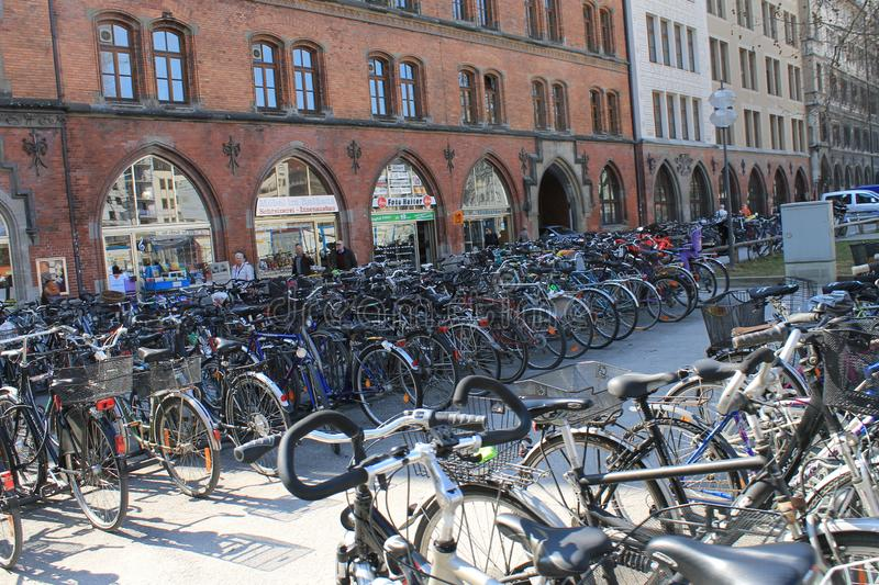 Bicycle parking in the city stock photo