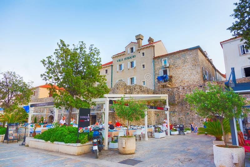Beautiful View of the old town of Budva stock photography