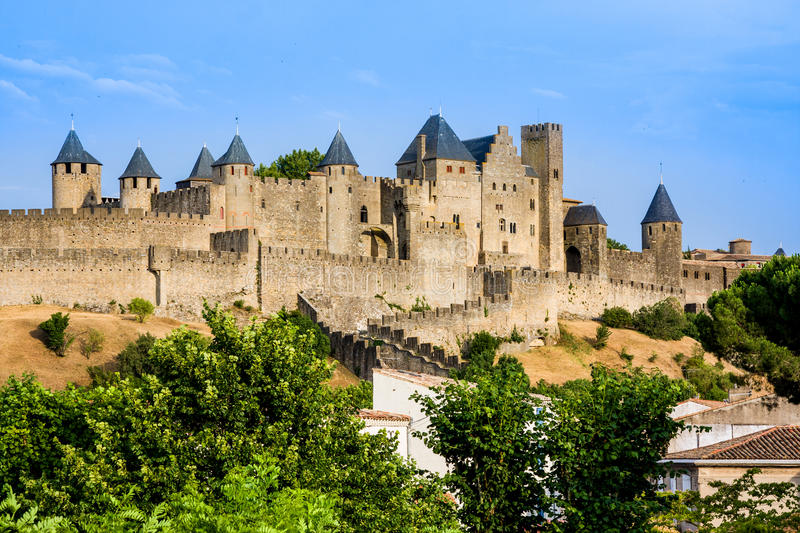 Beautiful view of old town of Carcassone. France stock photography