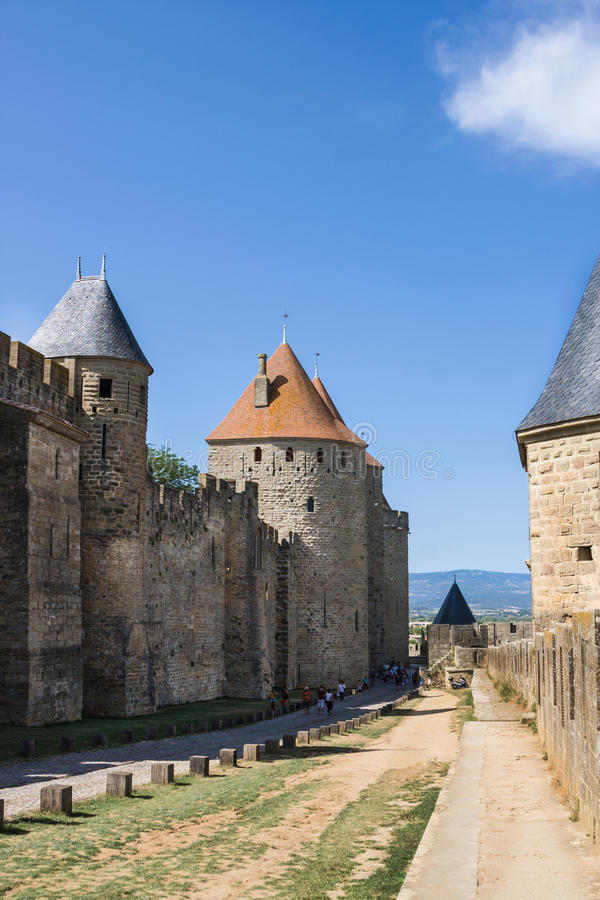 Beautiful view of old town of Carcassone. France royalty free stock photo