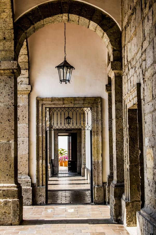 Beautiful view of one of the halls of the cultural Institute Cabañas. In Guadalajara Jalisco Mexico on a wonderful day of culture royalty free stock photos