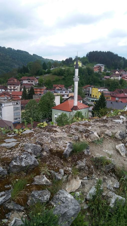 Mosque in town of Bosanska krupa, Bosnia and Herzegovina royalty free stock photo