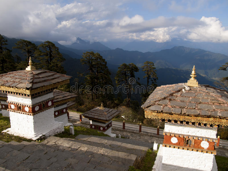 Beautiful view over the himalayan mountains in Bhutan stock photos