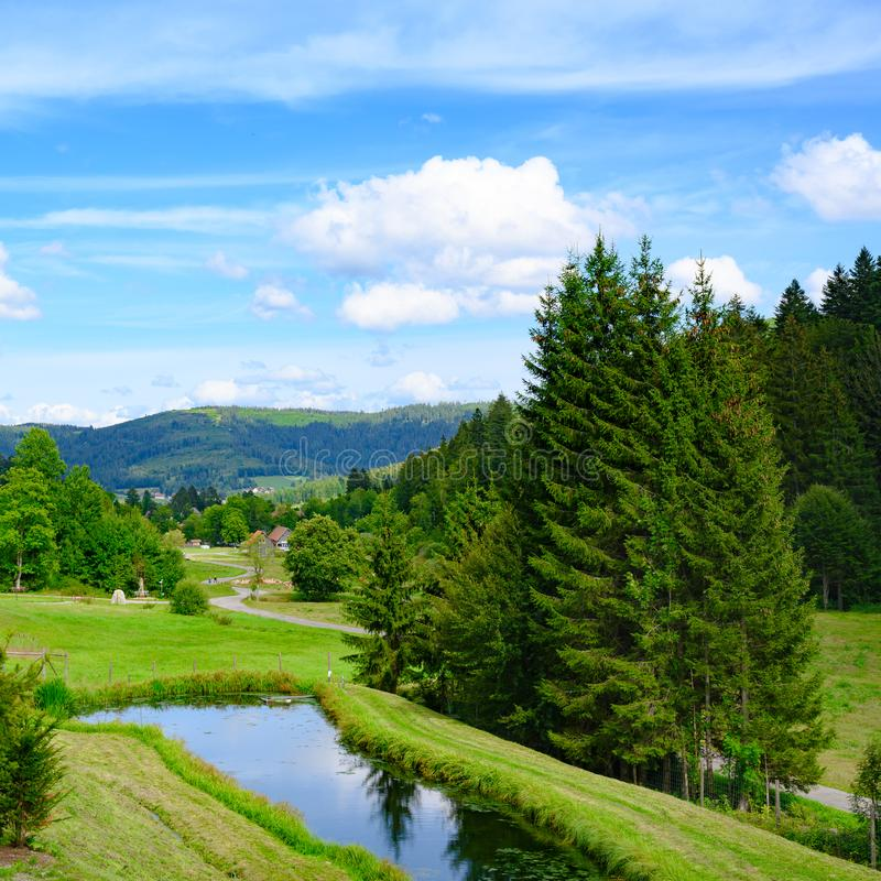 View over trout pond to valley and fir covered mountains in Black Forest, Germany. Visibility on clear day with blue sky. royalty free stock photography