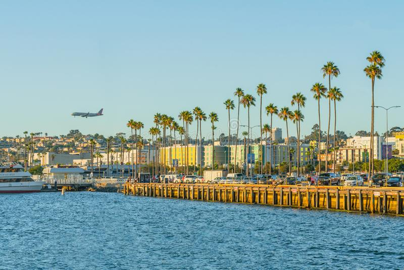 Beautiful view of Pacific Promenade in Embarcadero Marina Park North in San Diego. royalty free stock photos
