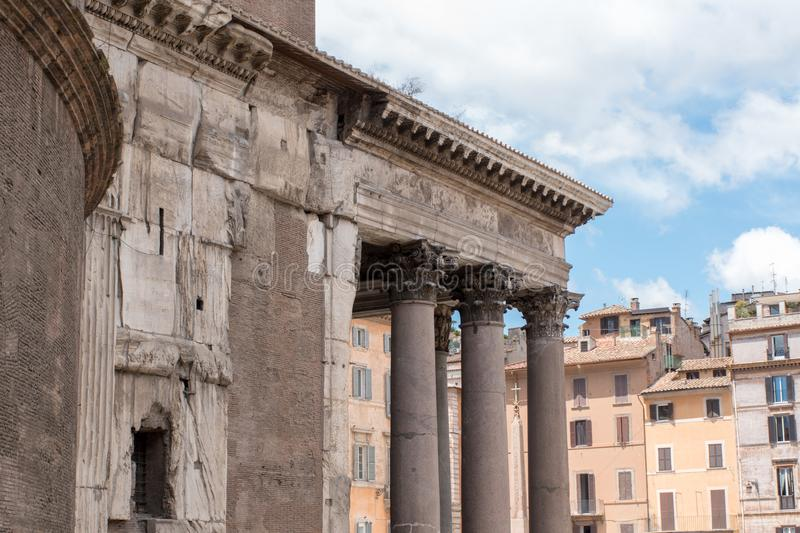 A beautiful view of the Pantheon in Rome in Italy stock photos