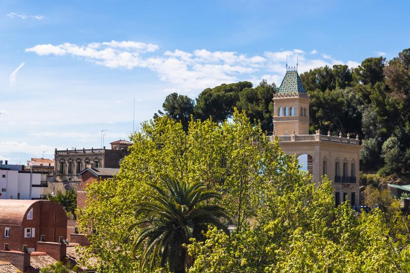 Beautiful view of Park Guell monuments in Barcelona royalty free stock image