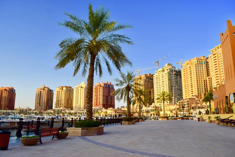 Beautiful view pf The Pearl Qatar stock images