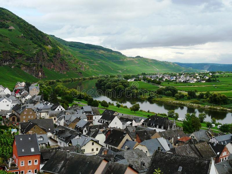 Breathtaking view of the scenic Moselle valley, Rhineland-Palatinate, Germany stock photos