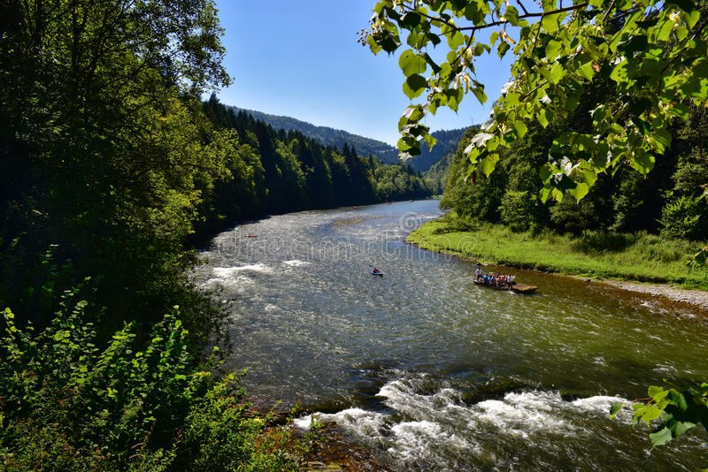 Beautiful view of Pieniny mountain river Dunajec stock photos