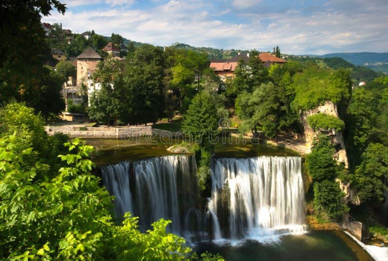 A beautiful view at Pliva waterfall Plivski vodopad located in the city center of Jajce, Bosnia and Herzegovina. stock photos