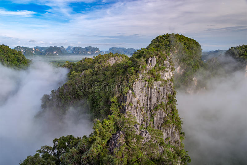 Beautiful view point at Golden Buddha meditating - the Tiger Temple in Krabi Thailand. Beautiful view point at Golden Buddha meditating the Tiger Temple in Krabi royalty free stock images