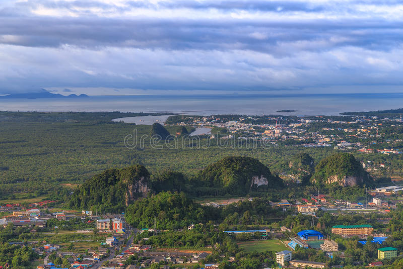 Beautiful view point at Golden Buddha meditating - the Tiger Temple in Krabi Thailand. Beautiful view point at Golden Buddha meditating the Tiger Temple in Krabi stock photography