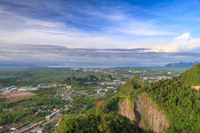 Beautiful view point at Golden Buddha meditating - the Tiger Temple in Krabi Thailand. Beautiful view point at Golden Buddha meditating the Tiger Temple in Krabi royalty free stock image