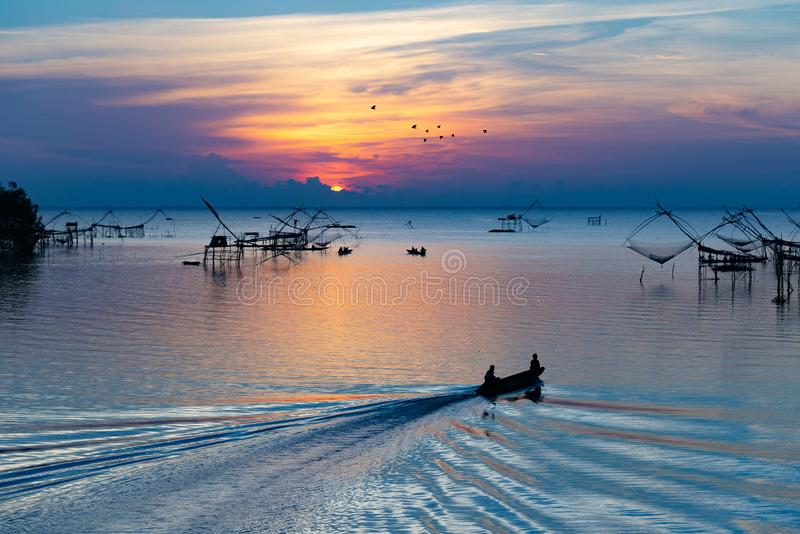Beautiful view point sunrise at pakpra phatthalung thailand. Pakpra phatthalung thailand river life stock photography