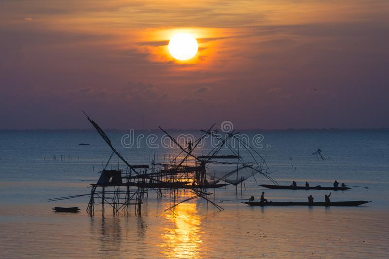 Beautiful view point sunrise at pakpra phatthalung thailand. Pakpra phatthalung thailand river life stock images