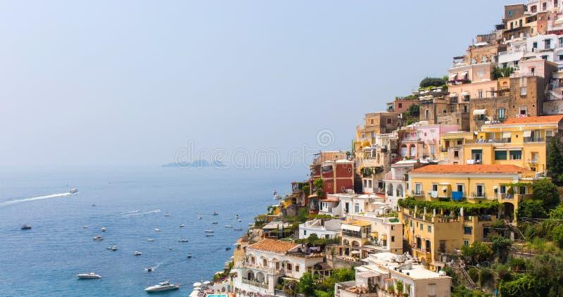 Beautiful view of Positano village on the Amalfi Coast, in Italy Campania stock photo