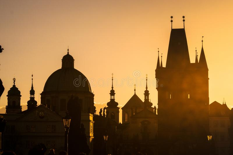 Sunset cityscape on Charles Bridge stock photos