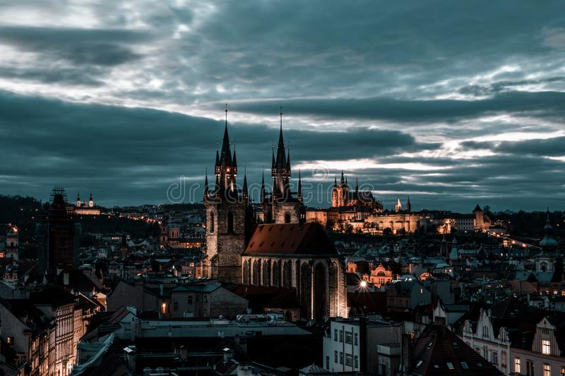 Beautiful view of Prague from the Powder Tower royalty free stock photo