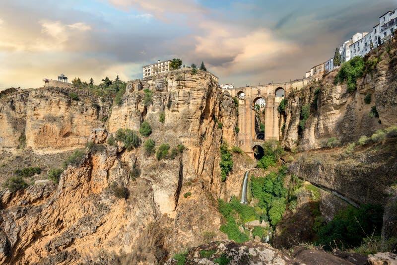 Puente Nuevo New Bridge over Tajo Gorge in Ronda. Andalusia, stock images