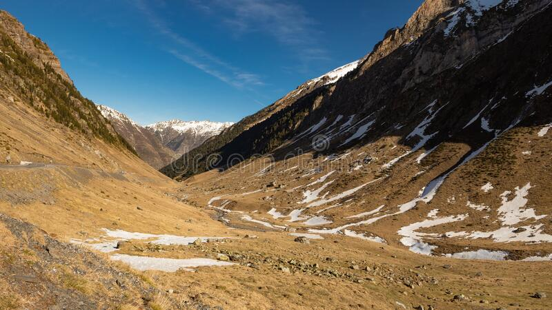 Pyrenees landscape in France border royalty free stock photo
