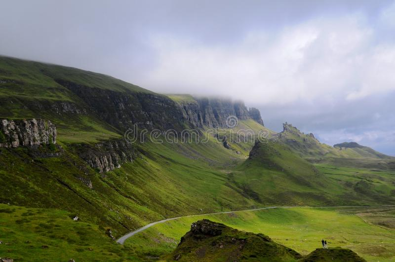 Beautiful view of the Quiraing. Amazing view on the Quiraing mountain crest on the beautiful Isle of Skye in Scotland stock photos