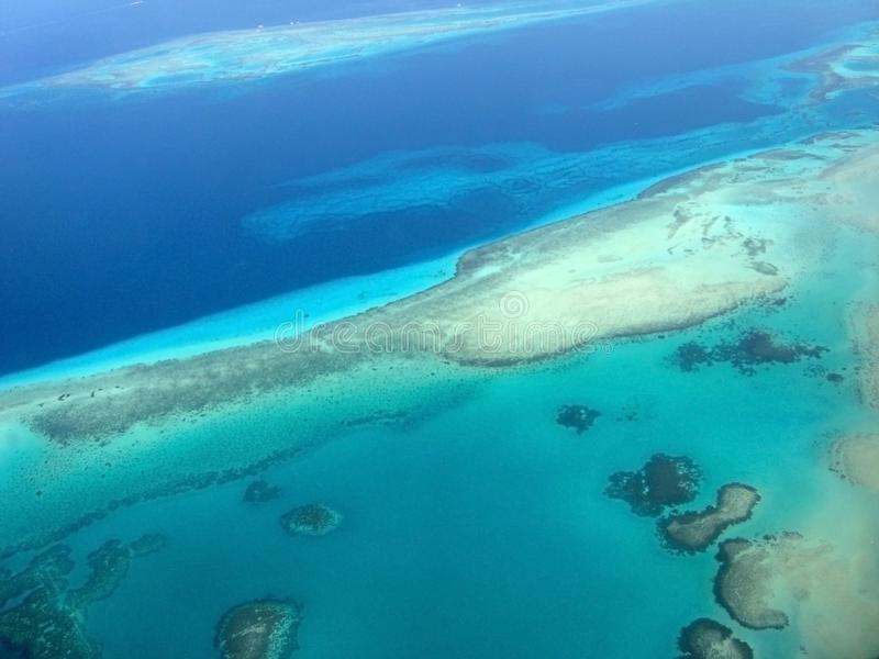 Beautiful view of the reefs from the plane. stock photography