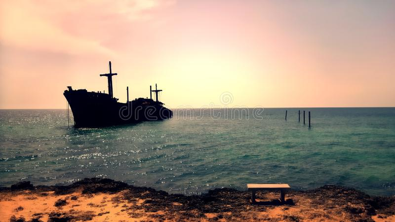 Beautiful view of the remaining of the Greek Ship by the beach in Kish Island, Persian Gulf, Iran royalty free stock photography