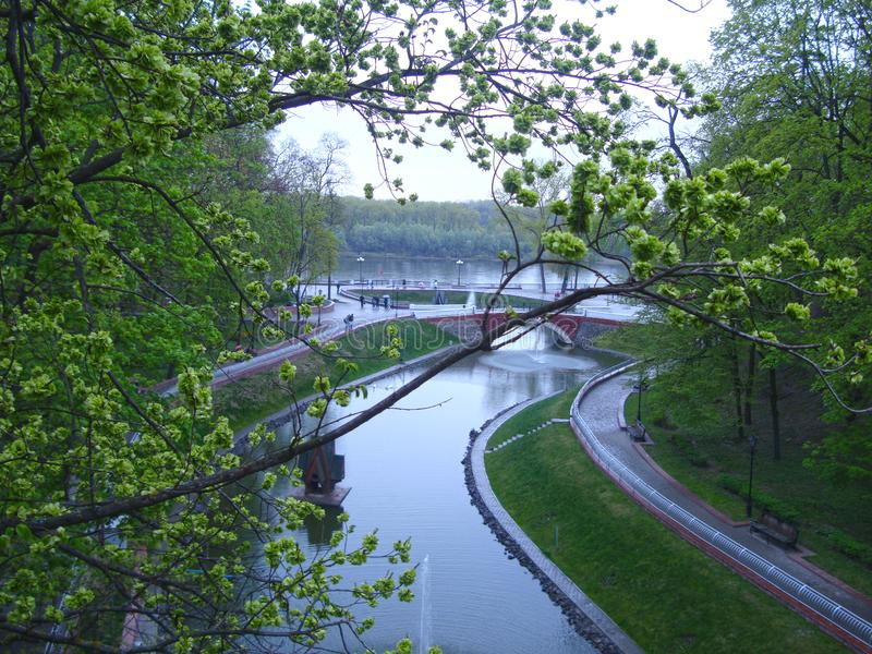 Beautiful view of the river and park stock images
