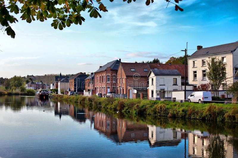 River view in Thuin, Belgium royalty free stock images