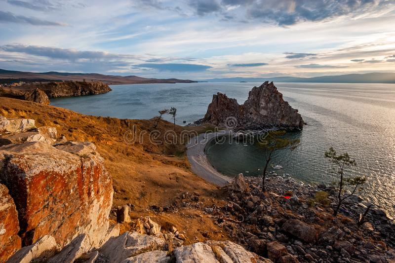 Beautiful view of the sacred rock of Shamanka stock images