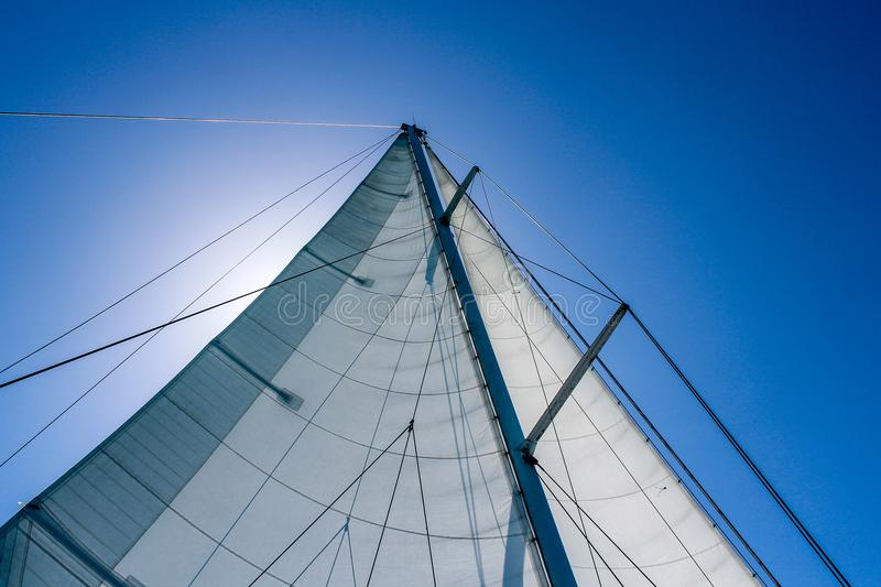 A sail in the wind. Beautiful view of a sail in the wind, in front of the sun royalty free stock image