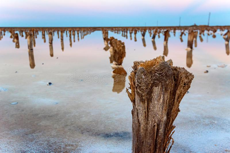 Beautiful view of salt lake Baskunchak in Astrakhan region, Russia. Picturesque landscape with salt lake Baskunchak in Russia in evening for natural background stock image