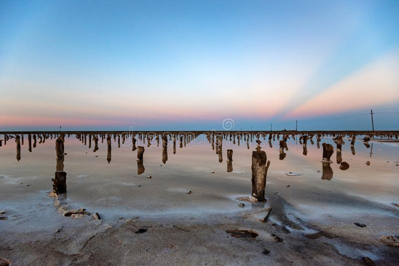 Beautiful view of salt lake Baskunchak in Astrakhan region, Russia. Picturesque landscape with salt lake Baskunchak in Russia in evening for natural background royalty free stock photography