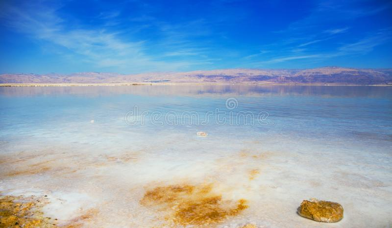 Beautiful view of  Dead Sea shore with clear water. Ein Bokek, Israel royalty free stock photos