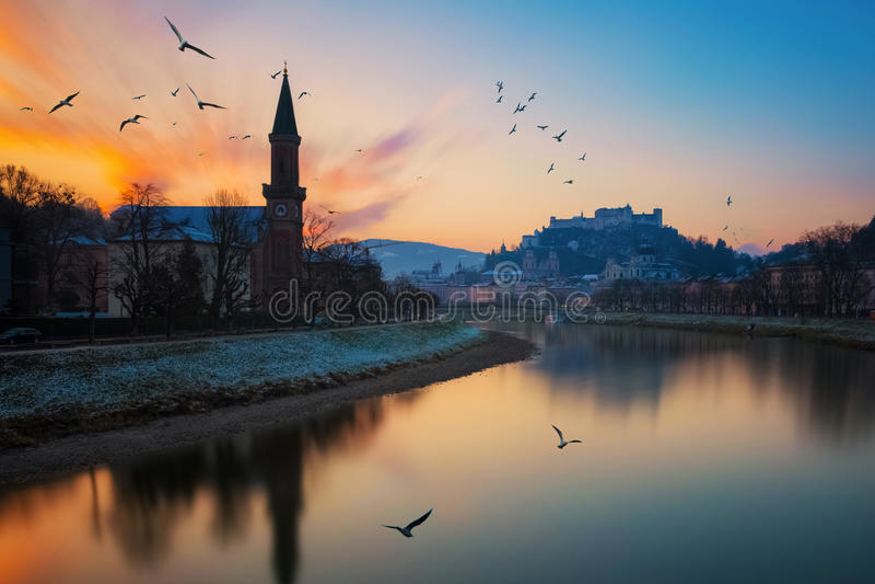 Beautiful view of Salzburg skyline with Festung Hohensalzburg, Austria royalty free stock images